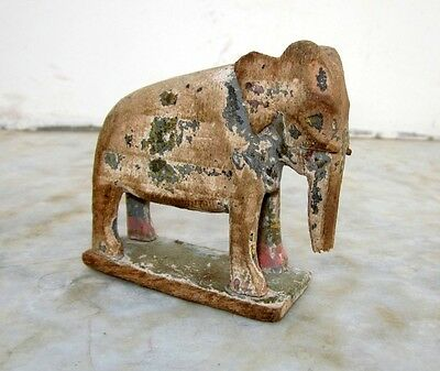 1850s Old Antique Hand Carved Polychrome Wooden Elephant Figurine