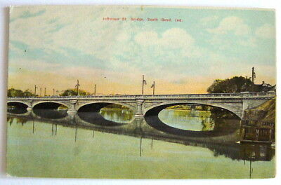 South Bend Indiana Jefferson Street Bridge c1915 vintage postcard