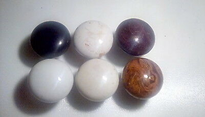 Lot of 6 Vintage Antique Porcelain Door Knobs 3 White/ 1 Black/ 2 Brown