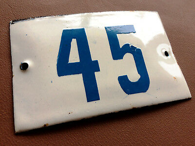 VINTAGE ENAMEL SIGN TIN PORCELAIN HOUSE NUMBER 45 DOOR GATE WHITE BLUE 1950's