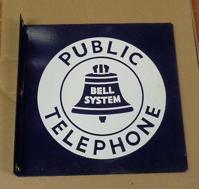 Vintage Original Bell Systems Double Sided Porcelain Sign