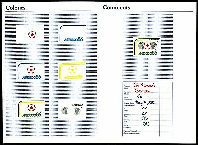 ST.VINCENT FUßBALL WM 1986 PHASENDRUCKE SOCCER FOOTBALL PROOFS IMPERF RARE z1867
