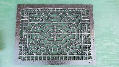 "Vintage VICTORIAN Cast Iron Floor Grille Heat Grate Register 26"" long x 20"" wide"
