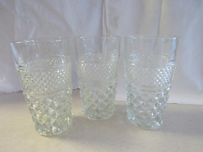 VINTAGE ANCHOR HOCKING WEXFORD 11 oz. WATER TUMBLERS GLASSES SET OF 3