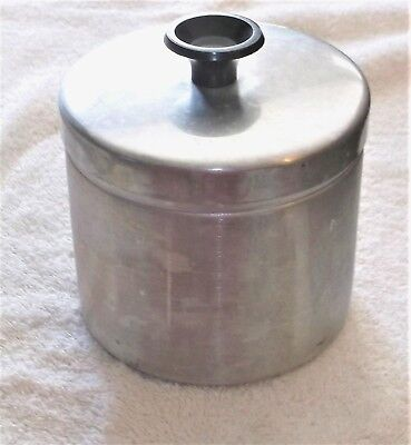 Vtg Aluminum Grease Canister Container Jar w/ Lid & Strainer Mid Century Modern