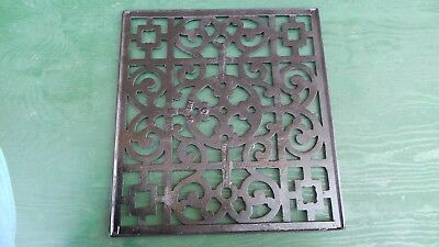 "Vintage VICTORIAN Cast Iron Floor Grille Heat Grate Register 17"" long x 16"" wide"