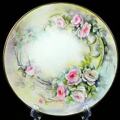 J. Pouyat Limoges Artist Signed All Hand Painted Cabinet Plate Pink Roses < 1932