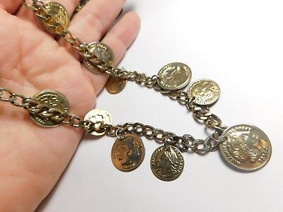 Alexander The Great Coin Dangle Chain Necklace Gold Tone Metal Vintage 48 Inches