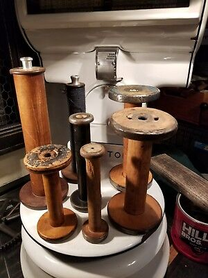 Vintage Wooden Textile Spools Bobbins Antique Factory Sewing Lot Of 7 Primitive