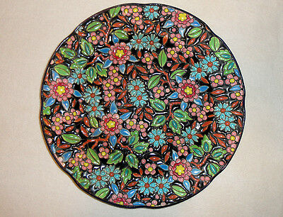 French Emaux de Longwy Hand Painted Majolica RARE BLACK enameled plate D-5669