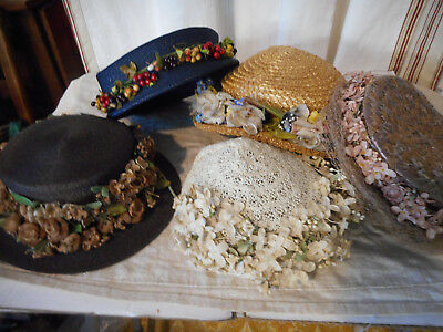 Vintage lot of 5 hats straw straw like and flowers, berries, fruit & Macy's Box