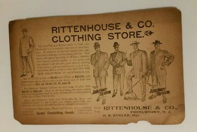 1905 antique RITTENHOUSE &CO CLOTHING STORE Frenchtown NJ MENS FASHION Mailing