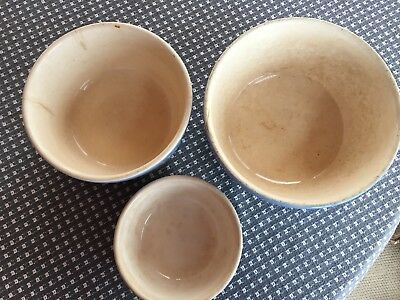 Harker Pottery Cameoware Blue Dainty Flower Set of 3 Mixing Bowls