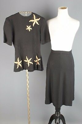 Vtg 1940s Women's Rayon Skirt & Blouse Set w Starfish Design #1902 40s
