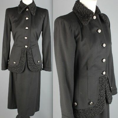 Vtg 1940s Carl of New York Black Wool Skirt Suit w Lambswool Trim #1901 40s