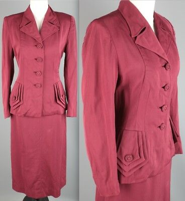 Vtg 1940s 1950s Fahionbilt Crimson Wool Skirt Suit  #1904 40s 50s