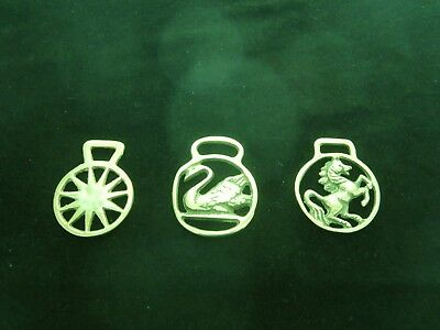 3 Vintage Small Brass Horse Harness Medallions