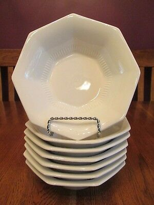 7 Vintage Nikko Classic White Octagon Shaped Ribbed Detail Coupe Cereal Bowls