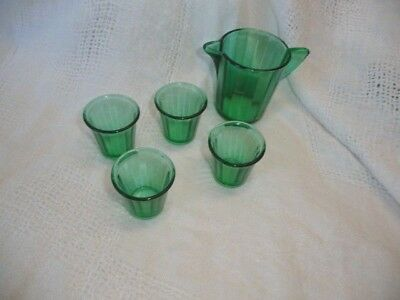 Vintage Akro Agate Teal Green Glass Child Miniature 1 pitcher  4  tumblers