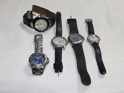 Lot of 5 Men's  Leather Stainless TIMEX TIMEX EXPEDITION  WATCH Restore Resale