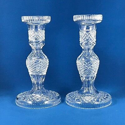 Waterford Cut Crystal Candlesticks Pair Alana Lismore Vintage Made Prior to 2009