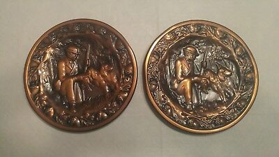 Pair of vintage hunter with dog stamped copper/ bronze wall plates