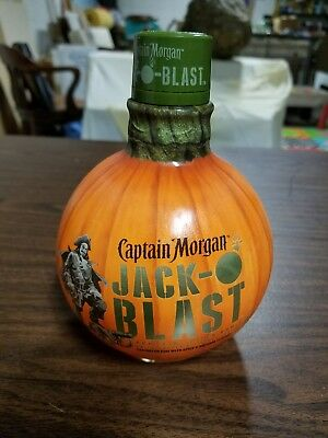 Empty Rare Captain Morgan Jack-O-Blast Pumpkin Glass Bottle Crafts Lamp