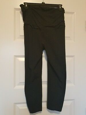 Black maternity yoga pant capri leggings, BeMaternity by Ingrid & Isabel, size M