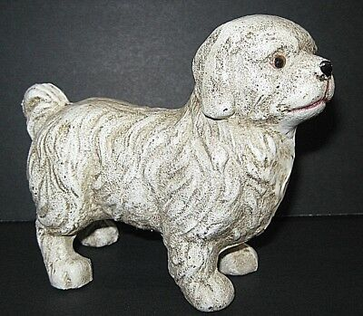 """Vintage Solid Cast Iron 4 1/2"""" Paperweight Small Door Stop Dog from ESTATE SALE"""
