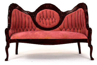 VICTORIAN STYLE SETTEE Tufted Upholstery Dusty Rose Velour Carving Superb NRFP