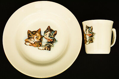 EGERSUND NORWAY Cats Kittens Child's Bowl & Cup Set VIntage  EUC & So Charming!