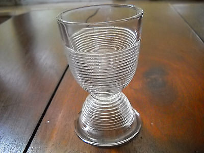 Vintage Crystal Ridged Glass Double Sided Egg Cup Holder Collectible Art Deco