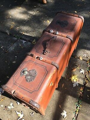 Antique Vintage Trunk -very large vintage suitcase - LOCAL PICKUP ONLY