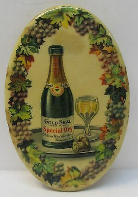 rare c. 1910 GOLD SEAL SPECIAL DRY Urbana Wines celluloid pocket mirror *