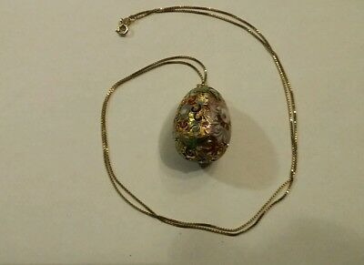 Vintage 925 Sterling silver chain Faberge Egg Necklace italy, enameled, easter,