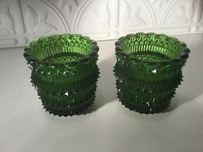 2 Old Green Glass Votive Candle Holders