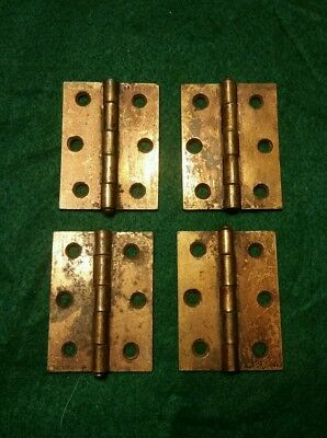 4 Matching Vintage Old Brass Plated Steel Cabinet Hinges 1 3/4  By 2 1/2 In. #58