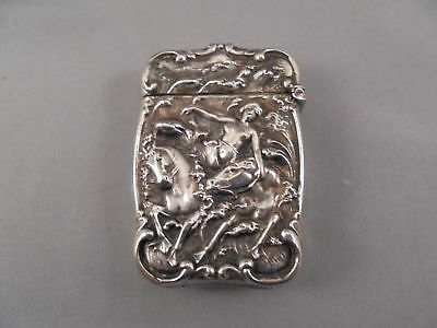 Old Antique Victorian Era Silver Match Safe w Female Nude & Horses