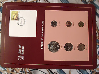 Coin Sets of All Nations Singapore w/card 1982 - 1988 UNC 1 Cent $1 1982