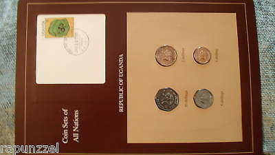 Coin Sets of All Nations Uganda w/card 4 coins all 1987 10, 5, 2, 1 Shillings
