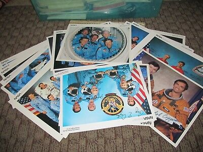 Huge Lot of 34 NASA Astronaut Signed Crew Photos Space Shuttle Space Flight