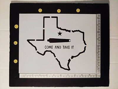 "State of Texas Come Take It Cannon 11"" x 8.5"" Custom Stencil FAST FREE SHIPPING"
