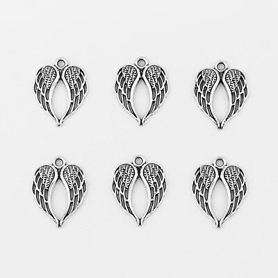 10pcs Antique Silver Angel Wings Charms Pendants Jewelry Findings