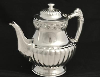 Vintage Reed And Barton Silver Plate Half Fluted Tea Pot Coffee Pot Floral