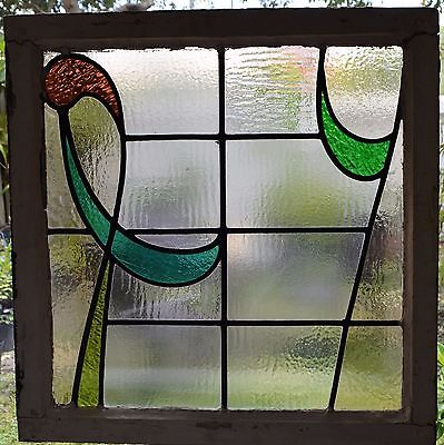 Antique Leaded English Stained Glass Window Wood Frame England Old House 31