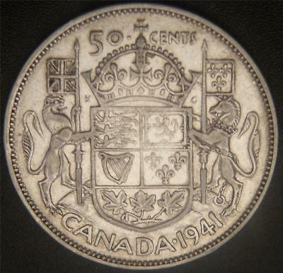 1941 Canadian Half Dollar - Silver Fifty Cent - Full Ear and Some Hair Details
