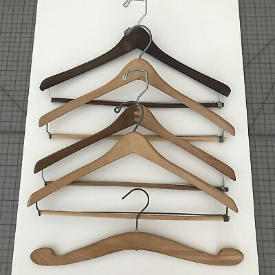 Vintage Lot of 5 Solid Wood Suit Hangers Coat Clothes Hangers EUC