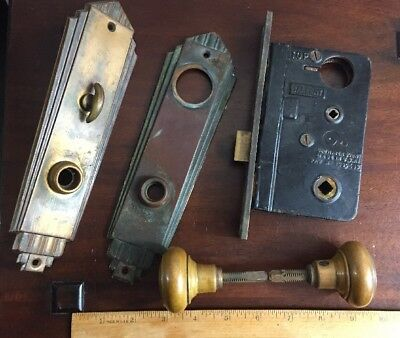 Vintage Antique Sargent Mortise brass Door Knob Lock Set Face Plate Art Deco