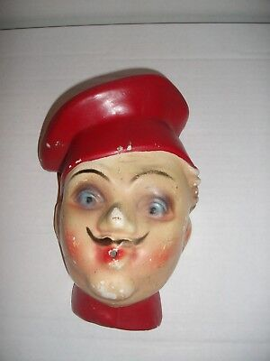 Vintage Chef Chalkware String Holder  Red Hat  Wall Mount  FREE SHIPPING