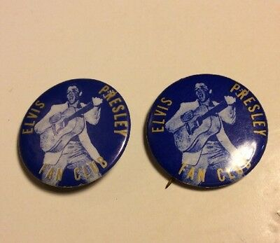 Lot Of Two Rare Vintage 1956 Blue Elvis Presley Fan Club Pinback Buttons